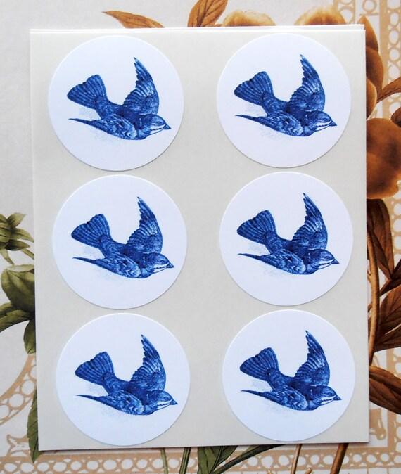 Stickers Blue Bird Envelope Seals Party Favor Treat Bag Sticker SP035
