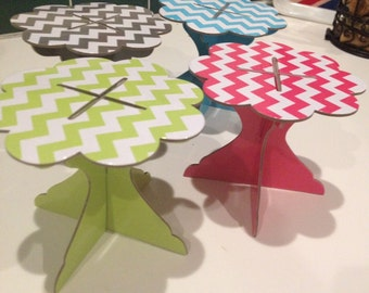 Free shipping with any order from my shop!  Chevron mini cupcake stand.