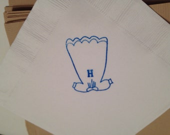 Pack of 30 napkins in any color adorable Christening gown.  Perfect for Baptism or Baby Shower.  Personailzed.