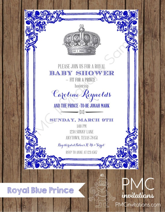 custom printed royal prince baby shower invitations each with