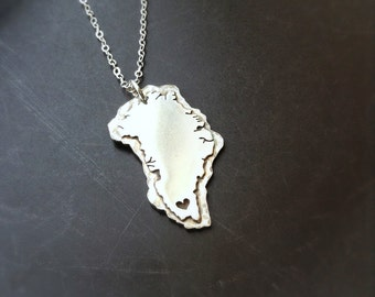 Greenland Pendant in Copper or Sterling Silver Personalize the Location of the Heart over your city