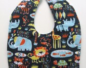 Ready To Ship Reversible Jungle Animals Flannel Baby Bib - Flannel Jungle Animals Toddler Bib - Jungle Baby Bib - Animals Baby Bib