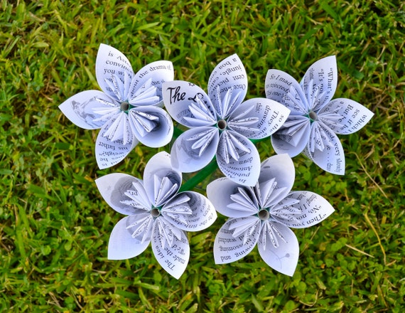The Little Prince Recycled Book Paper Flowers {5 Medium Size}