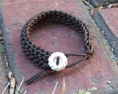 Handmade Knitted Leather Bracelet - Brown Leather, Vintage Button Clasp