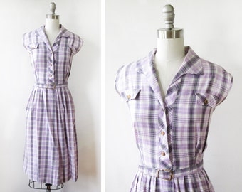 50s plaid dress, vintage 1950s purple shirtwaist dress, large plaid sundress
