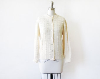 cream cardigan, 70s cream white sweater, pointelle knit large cardigan