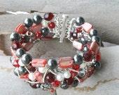 Statement Cuff Bracelet OOaK Wire Wrapped Silver Jewelry, Red Stone Bracelet