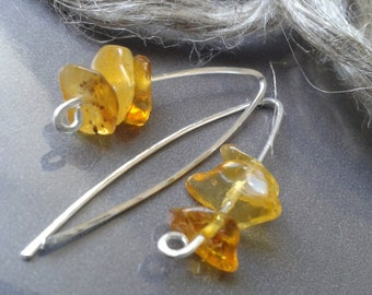 Baltic AMBER earrings sterling silver - Genuine yellow amber from Baltic Sea in Europe, Casual dainty jewelry