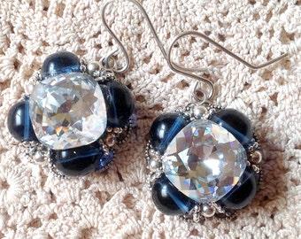 Button Earrings Vintage  Crystal Buttons vintage Blue Glass Beads Sterling Ear Wires