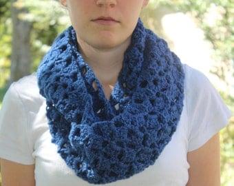 Blue Infinity Scarf - Crochet - Infinity Scarf - Lacy