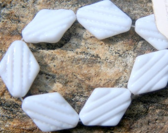 8 vintage German glass beads White