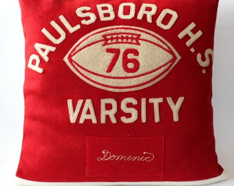 Custom Varsity Jacket Pillow Cover - Varsity Jacket - School - Memory Pillow