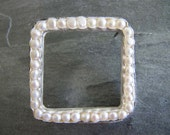Open Square Brooch of Freshwater Pearls and Sterling Silver