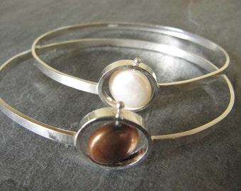 Floating Pearl Bangle Bracelet in Sterling Silver