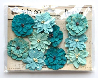 mulberry flowers  - paper flowers - Petaloo flowers - Tea-stained flowers - aqua, teal flowers - card embellishments - flower embellishment