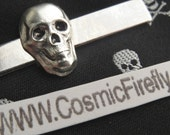 Tiny Skull Tie Bar Silver Skull Gothic Victorian Steampunk Tie Clip Pirate Tie Clip Men's Gifts For Him Halloween Tie Bar