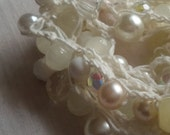 Handmade Crochet & Bead Trim Embellishment, White and Pearl, Crafting, Sewing, Quilting, Jewelry Making