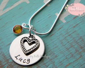 Personalized Hand Stamped Necklace with Swarovski Birthstone and Silver Heart Charm