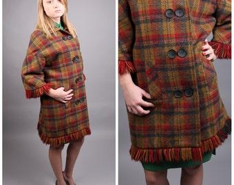 vintage 1960s tartan plaid wool jacket coat fringe sleeve double breasted mid century modern mod retro 1950s size medium large