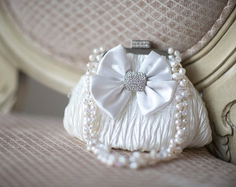 Wedding Handbag, Bridal Purse, Wedding Purse, Diamond White Hand Bag