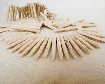 White Magnesite point spear beads Magnesite Spike Tribal Primitive beads 5 Beads Jewelry Necklace Supply #157