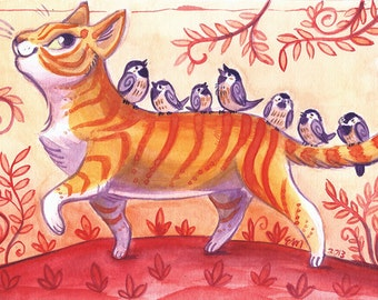 Kitty's Chickadees 8.5 x 11 print in 11 x 14 mat