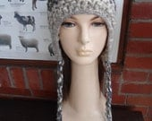 DAPPLED pompom earflap hat chullo blue brown beige cream recycled by irish granny