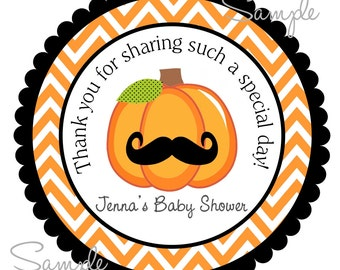 Printable Baby Shower Gift Tags, Personalized Pumpkin  Labels, Little Man, DIY, Printable Chevron Tags