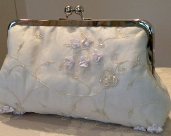 Embroidered Silk Organza Clutch/Purse/Bag..Hands Free Bridal/Wedding..off white Floral/Beads..See Shrug/Wrap/Shawl...Evening Party
