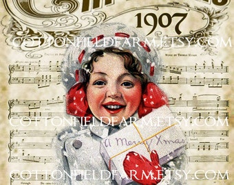 Christmas 1907 Girl in Snow Digital Sheet C-508 Large 5 X 7  for Pillows, Aprons, Totes, Stockings, Decoupage, ECS,