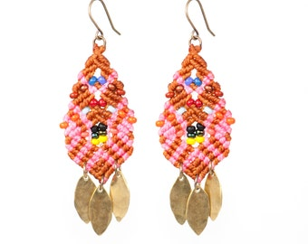 Beaded Woven Leaves Earrings