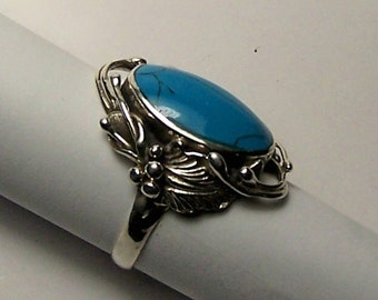 Unique Sterling Silver and Natural Blue Southwestern Gem Turquoise Ladies High Fashion Ring