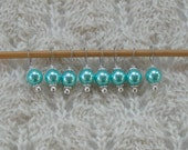 Knitting Stitch Markers - Sweet Pretty Pearls - snag free - bright turquoise pearl beads - set of 8 - three loop sizes available