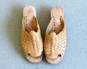 Vintage 80's WOVEN Leather Wedge Open Toe Sandals Size 5 1/2