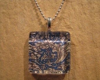 "William Morris Blue Batchelor's Button Wallpaper Square Glass Pendant with 24"" Ball Chain Necklace Arts and Crafts Jewelry"