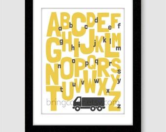 Alphabet Boys Truck Wall Art Print 11X14 for nursery or kids room