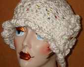 Pattern-Crochet Elegant 1920's Ruffle Style Cloche Flapper Hat ( Pdf Format in digital download) (Pattern Only) May sell finished product