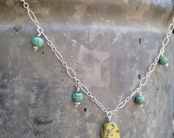 Turquoise and lime necklace, turquoise necklace, spring necklace, aqua necklace