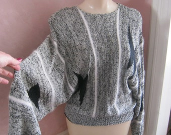 Vintage 80s dolman or cocoonsweater, black white tweed sweater, black white angora blend sweater size Large Harold Levine