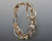 Wire wrapped Braided Bangle Bracelet
