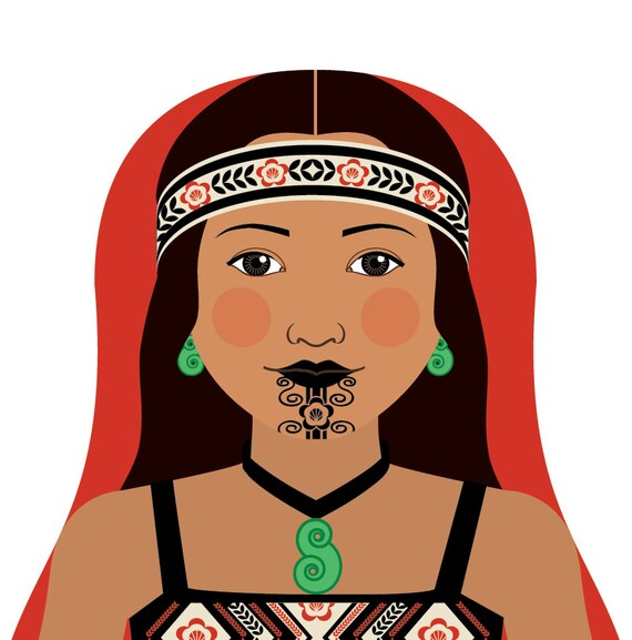 Maori New Zealand Wall Art Print with culturally traditional dress drawn in a Russian matryoshka nesting doll shape
