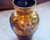 Vintage Bohemian Czech Glass Cobalt Vase with Heavy Gilt and Hand Painted Enamel