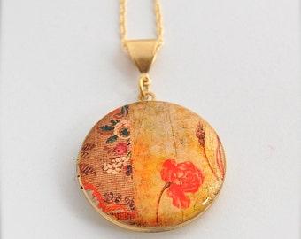 Vintage Inspired Art Locket Antique Floral Necklace