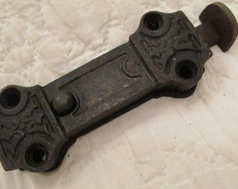 Antique Cast Iron Push Button Latch Ornate detail SALE