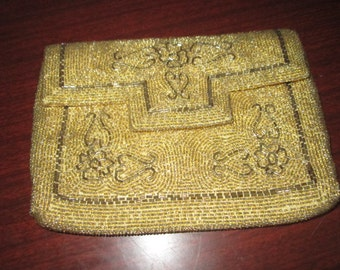 Vintage Glass Golden Beaded Evening Clutch Bag with Voguemont Label