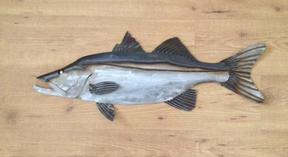 Snook Metal Fish Wall sculpture 30in Tropical Beach Coastal Art