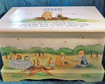 Keepsake Toy Box Custom Designed Inspired by Winnie the Pooh with Monogram or Name, kids furniture, art and decor, wooden toy box