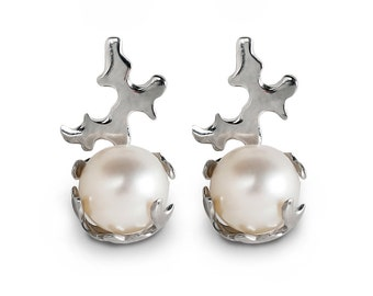 CORAL 14k White Gold Pearl Earrings, White Gold Stud Earrings, Pearl stud earrings, Bridal Pearl Earrings, Italian Fine Jewelry