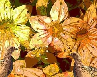 Bobwhite Quail Hens Bird Art Flowers Floral Flora Fauna Woodland Wildlife Yellow Orange Earth Tones Nature Abstract Giclee Print 8 x 10
