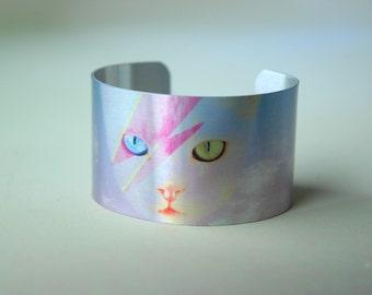Funky Catsterz David Meowie Metal Cuff Bracelet